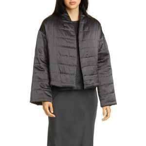 Quilted Silk Charmeuse Short Kimono Coat
